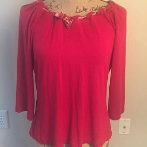 St. John Red/Gold Grommets and Scarf Top Sz L